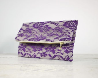 Purple lace clutch, fold over purple lace clutch | Purple Bridesmaid Clutch | Purple Wedding Clutch