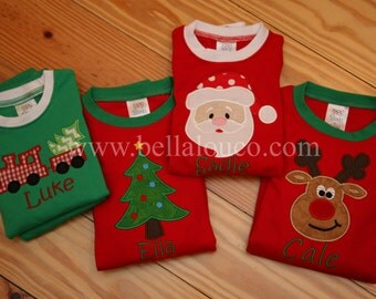 Monogrammed Christmas Pajamas - Striped Bottoms