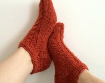 Luxury Alpaca Short Socks Slippers with Cables in Rust Mix. Wide variety of colours available.