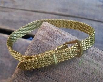 belt buckle bangle / brass bracelet / vintage brass bangle / BRASS BELT BANGLE