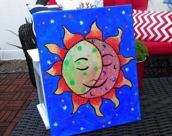 Mexican Folk Art Sun and Moon Luna El Sol Flowers Florals Original Painting