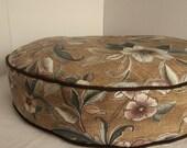 Dog Bed Cover  Golden Tan Mauve Indoor/Outdoor Print w/ Bark Green Cording 26 round