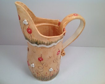 Pitcher/pottery pitcher/wedding gift/orange pottery/red posey pattern/pottery pitcher/water pitcher/large pitcher/pottery pitcher/orange
