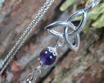 Triquetra Pendant with Amethyst Bead and Spiral Goddess Charm, Trinity Knot Pendant, Triple Goddess, Irish Knot Pendant, Celtic Necklace
