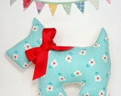 Scottie Dog Stuffed Pillow ~ New Baby Gift ~ Nursery Decor ~ Retro ~ Scottish Terrier ~ Dog Pillow ~ Turquoise and Red