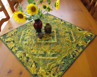 Fall Quilted Table Topper, Quilted Handmade Tabletop, Home Decor, Green Gold Leaves, Table Decor, Patchwork Table Topper, Pieced Tabletop