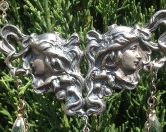 Art Nouveau Cast Silver Double Goddess Flowing Hair Necklace