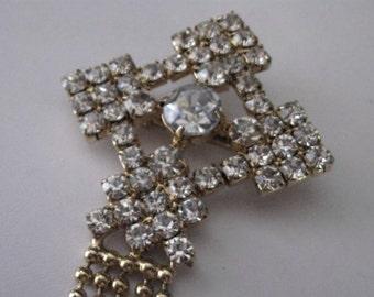 Crystal Rhinestones Cross with Gold Ball Chain Fringe