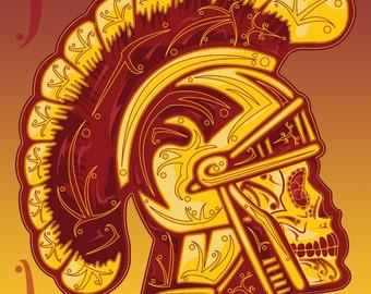 USC Trojan Sugar Skull 11x14 Print