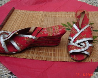 PRICE REDUCED-Vintage Chinese Red Silk Embroidered and Silver Leather Trim Wedge Shoes/Sandals - Nice