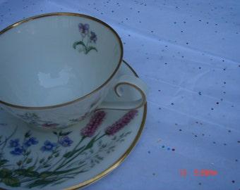 Vintage K & A Krautheim Selb Bavaria Germany Floral Decor Porcelain Teacup and Saucer - Scene G Series
