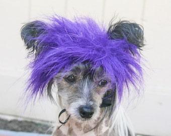 Small Purple Sparkle Faux Fur Dog Costume Wig