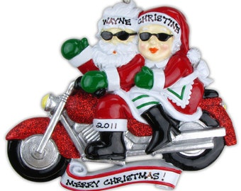 Personalized Christmas Ornament Motorcycle Bike ,Mr. & Mrs. Claus Just Married Favor  -Bride and Groom- Wedding ,Bridal , Anniversary Gift