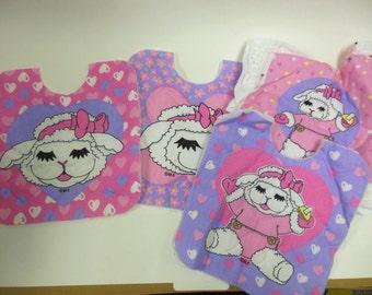 Lambchop Bibs, Quilted, Ready to Finish, DIY Bibs, Baby Bibs, Pink, Purple,
