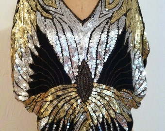 Silver and Gold on Black Silk Beaded Sequin Butterfly Vintage SCALA Trophy Blouse M