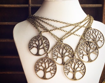 10 Necklaces Tree of Life / Wholesale Handmade / Bridesmaids Outdoor Wedding / Pendant Necklace Antique Brass / Bridal Party Favors Gifts