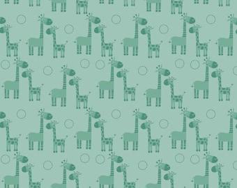 SALE *** Giraffe Crossing in Teal - 1 yard -  by Riley Blake Designs.