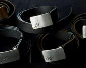 "Men's Monogrammed Buckle and Belt Set Personalized Gift Brushed Stainless Steel Keepsake Belt Buckle & 1.5"" Quality Leather Belt for Jeans"