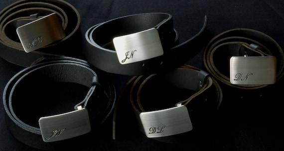 "Personalized Belt Buckle Keepsakes Groom & Groomsmen's Brushed Stainless Steel Wedding Accessories Hand Forged Belt Buckles Fits 1.25"" Belt"