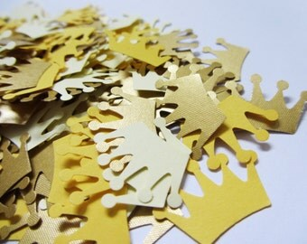 Paper crowns Paper crown confetti Gold crowns Yellow crown confetti Paper crown confetti Wedding confetti