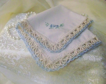 Bridal handkerchief, Hanky, Hankie, Something Blue, Hand Crochet, Embroidered, Monogrammed, Personalized, Lace, Floral, Light Blue, Keepsake