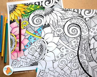 Adult Coloring Book Page - Floral Fantasy, DIY Printable, Hand Drawn Flowers, Instant Download, Adult Colouring Sheet, Art Therapy