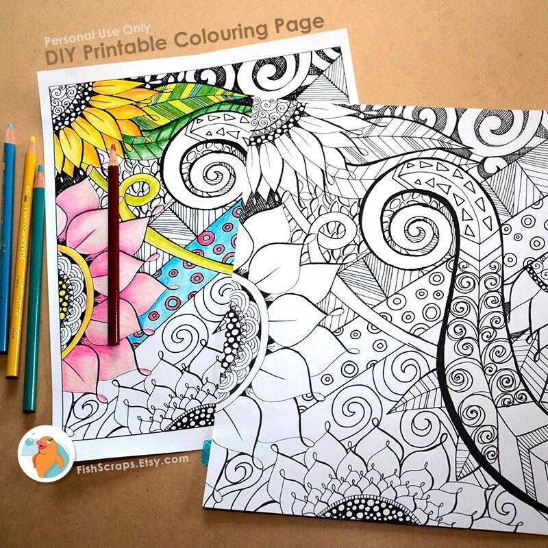 Adult Coloring Book Page Floral Fantasy DIY Printable Hand