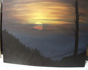 Sunset, Sunrise,Tennessee, Appalachian Mountains, Sky, Night, Tree,Clouds, Original Landscape Oil Painting