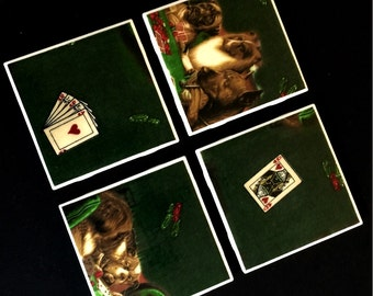 "Dogs Playing Poker - Drink Coasters - Great Gift Idea - Ceramic Tile & Fabric - Set of 4 - approx 4"" x 4"""