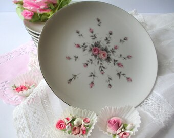 Vintage Bread and Butter Plates Harmony House Rosebud Pink Set of Eight - So Lovely