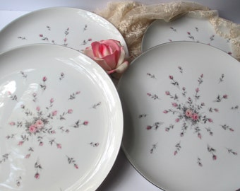 Vintage Harmony House Rosebud Pink Peach Gray Floral Dinner Plates Set of Four