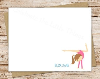 PRINTABLE gymnastics personalized stationery . girl gymnast . note cards . FLAT notecards . You Print