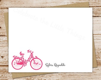 PRINTABLE personalized notecards . vintage bicycle note cards . bike stationery . FLAT stationary . antique birds silhouette . You Print