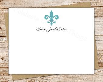 personalized stationery set . fleur de lis note cards . fleur de list notecards . flat stationary . set of 10