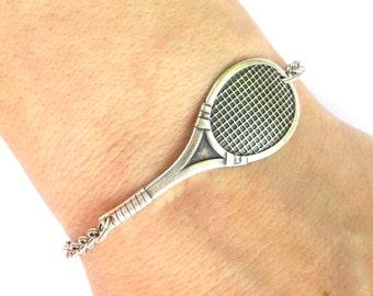 Steampunk Tennis Racket Bracelet- Tennis Bracelet- Tennis Anklet- Sterling Silver Ox Finish
