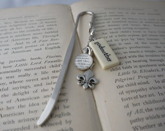 GODMOTHER Bookmark Personalized with Mini Domino silver-tone charm dictionary glass gem charm Kristin Victoria Designs Personalized Gift