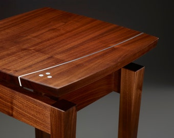 Walnut and Aluminum Side Table - curved aluminum inlay