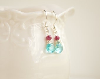 Apatite & Ruby Teardrop Earrings