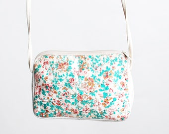 Vintage 80s White FLORAL Croc PURSE / 1980s Crossbody BAG