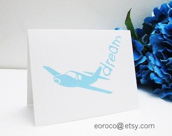 Blank Card, Greeting Note Card, Positive Message, Original Design Card, Enjoy Life Card, Bird Card Airplaine Card, Headphone Card Peace Card