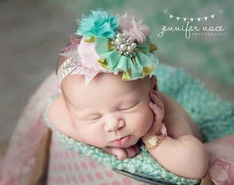 Puttin On the Glitz-- mint pink ivory and gold sparkle ruffle and rose headband
