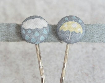 April Showers Fabric Covered Button Bobby Pin Pair