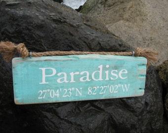 Latitude longitude sign, rustic beach signs, custom signs, wood signs, custom wood signs, cabin signs