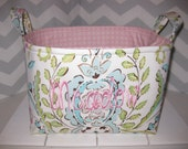 Large Diaper Caddy / Organizer Bin / Pink Blue Green Love Birds Damask - Personalization Available