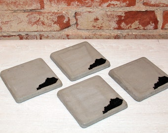 Set of 4 Concrete Coasters (Kentucky)