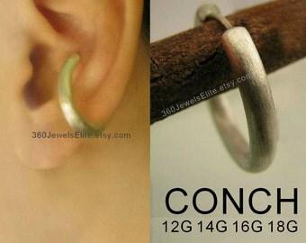 Large Conch Earring - Gauge piercing earring for men - 925 Sterling Silver Hoop - Etsy ear cartilage conch or helix 12G 14G 16G 18G