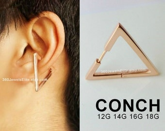 Conch Piercing Gauge Earring Rose Gold - Plated Sterling Silver Triangle Hoop - Etsy Conch Helix Cartilage earring 12G 14G 16G 18G -E235SR