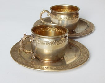 french cup and saucer set SMALL vintage set