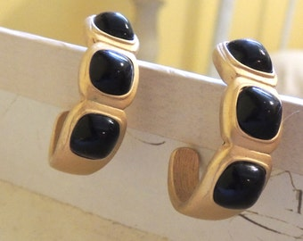 Vintage Trifari Earrings Pierced Crescent Hoops Brushed Gold & Black Cabochons Vintage Jewelry