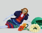 Handmade toy doll human figure and colorful doll  clothes,crochet flowers and basket .